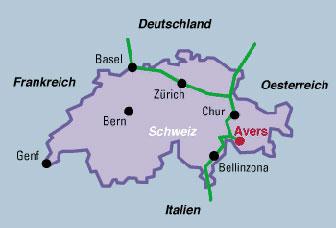Avers Lage in der Schweiz
